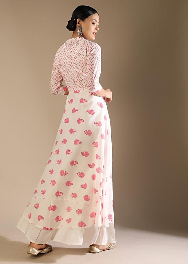 White A Line Front Slit Kurta Set In Cotton With Pink Printed Buttis And Geometric Motifs And Long Sleeveless Inner Online - Kalki Fashion