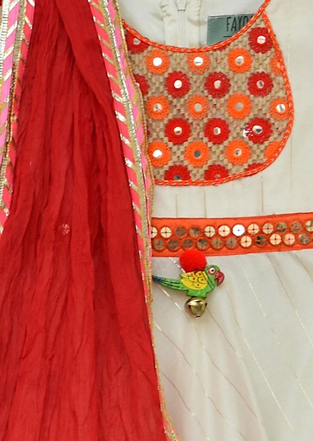 White Anarkali Dress With Coral Crushed Dupatta by Fayon Kids