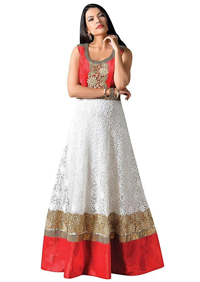 White anarkali suit embellished in cut work lace