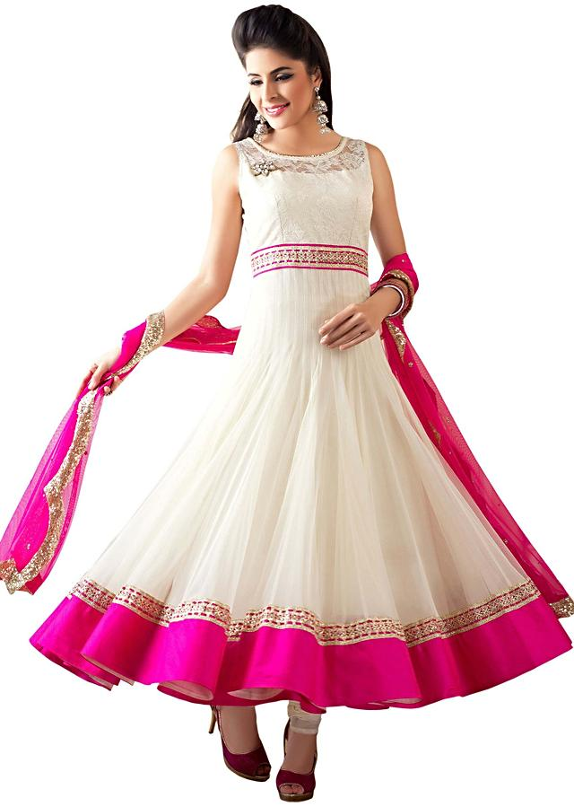 White anarkali suit embellished in gotta patti lace