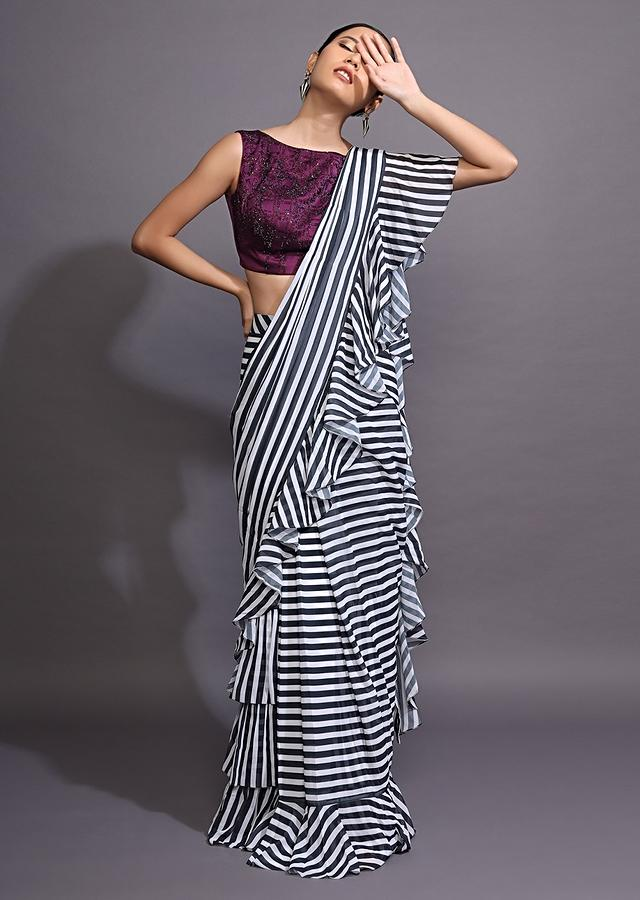 White And Black Ruffle Saree With Striped Print Online - Kalki Fashion