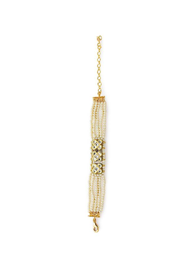White And Gold Bracelet With Shell Pearl Strings And Hydro Kundan Polki Handiwork In The Centre Online - Joules By Radhika