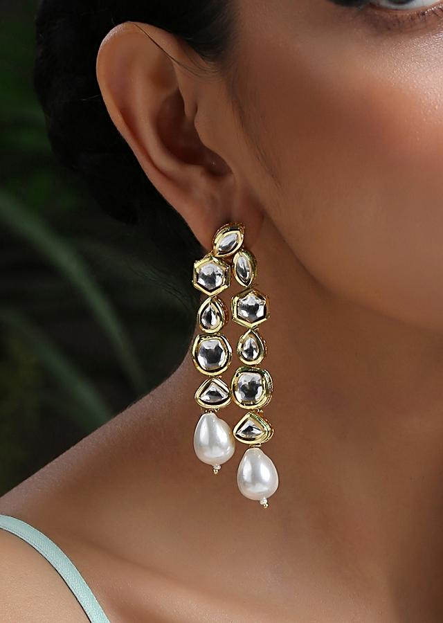 White And Gold Earrings Made In Kundan With Dangling Moti Highlight By Paisley Pop