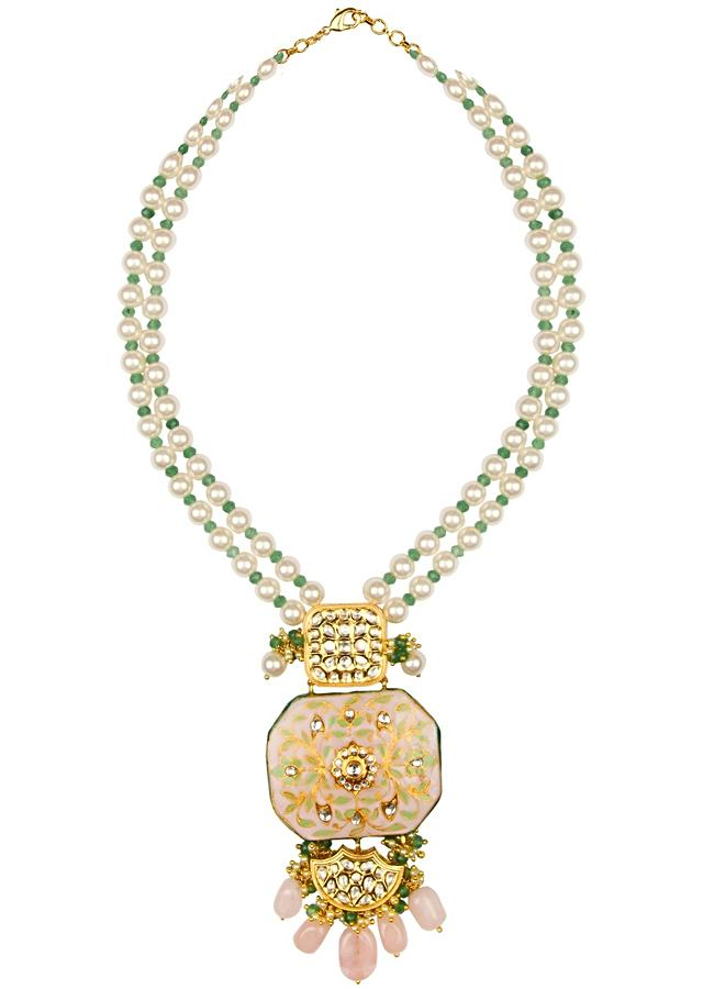 White And Gold Enamelled Necklace And Earrings Set With Kundan, Jade Drops And Shell Pearls Online - Joules By Radhika