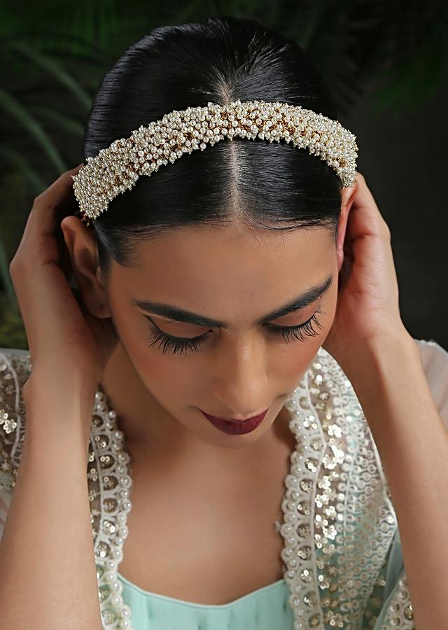 White And Gold Headband With An Intricate Clusters Of Pearls By Paisley Pop