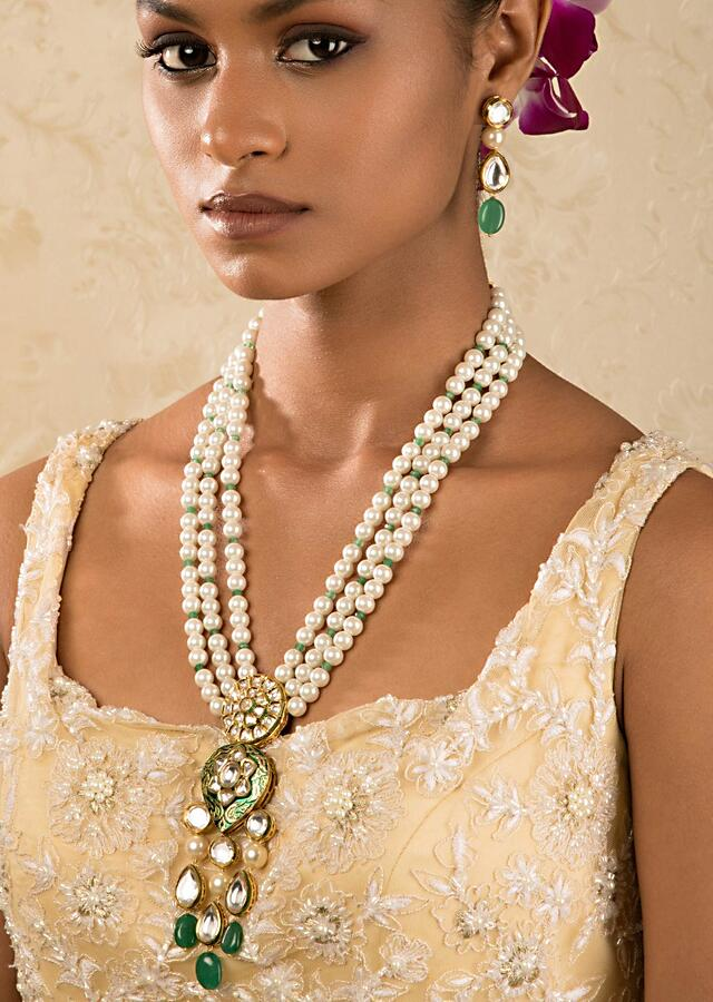 White And Green Enamelled Kundan Necklace And Earrings Set With Shell Pearls Online - Joules By Radhika