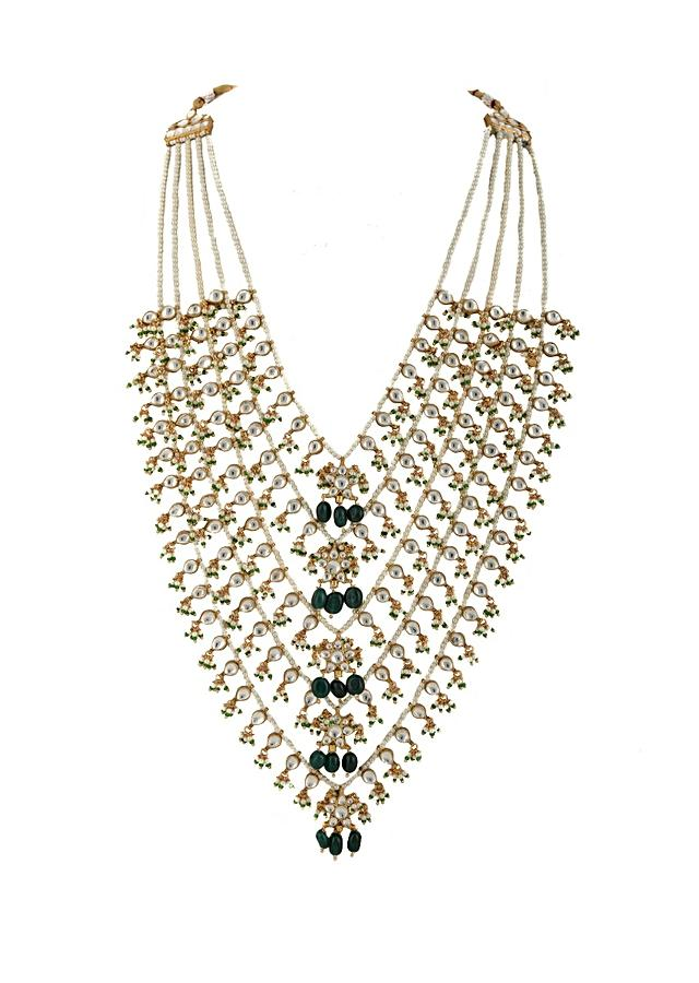 White And Green Five Layer Necklace With Floral Pendants And Moti Strings By Riana Jewellery