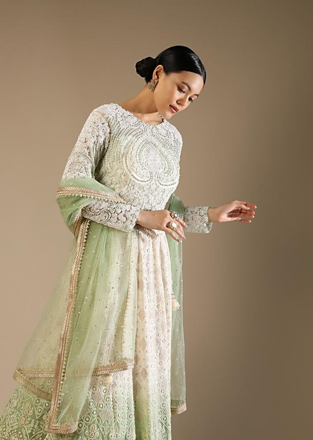 White And Green Ombre Lehenga With Lucknowi Thread Embroidery And A Moti Embroidered Choli Online - Kalki Fashion
