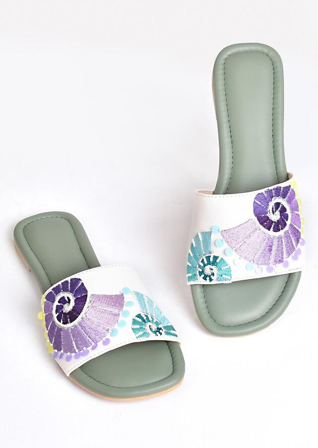 White And Green Slider Flats With Purple And Turquoise Ombre Design By Sole House