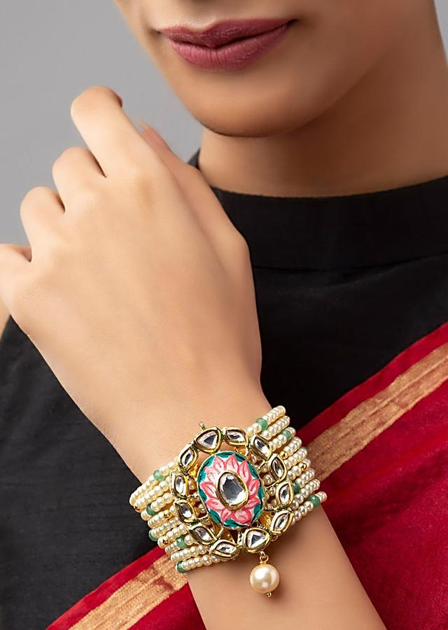 White And Pink Bracelet With Green Agates And Shell Pearl Strings, Meenakari And Hydro Kundan Polki Centre Online - Joules By Radhika