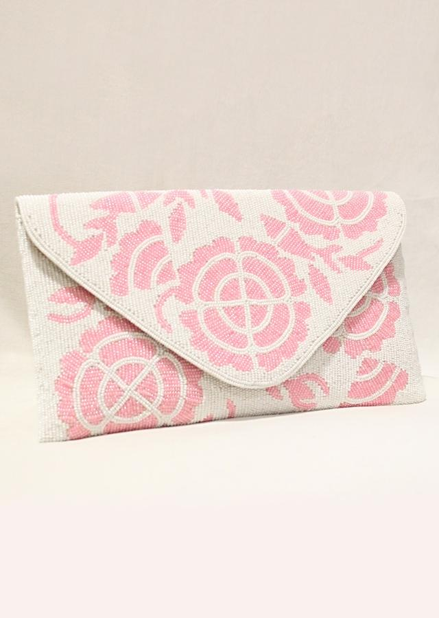 White And Pink Envelope Clutch In Raw Silk With Hand Embroidered Cut Dana Work In Floral Motifs Online - Kalki Fashion
