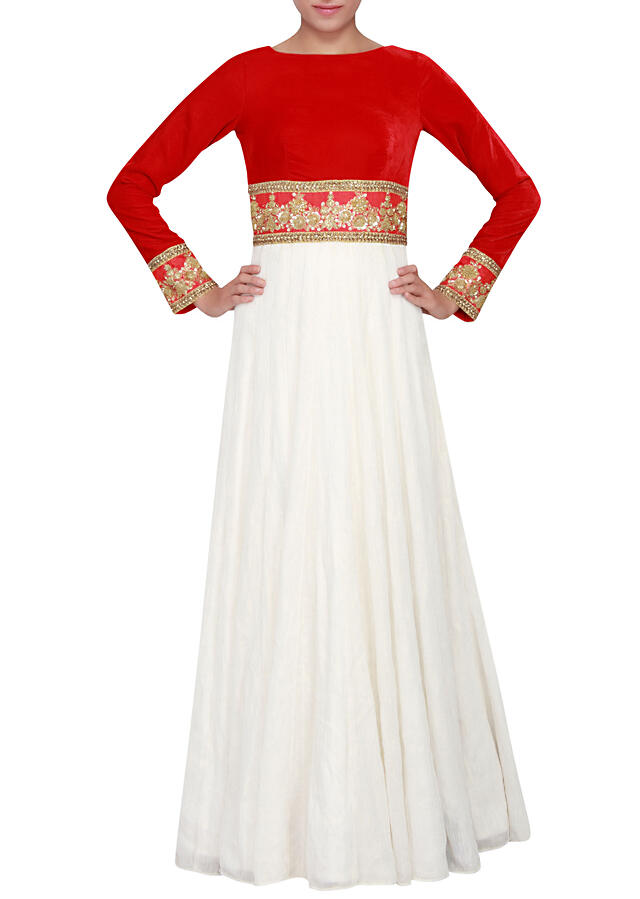 White and red gown featured in velvet and a fancy fabric embellished in zardosi only on Kalki