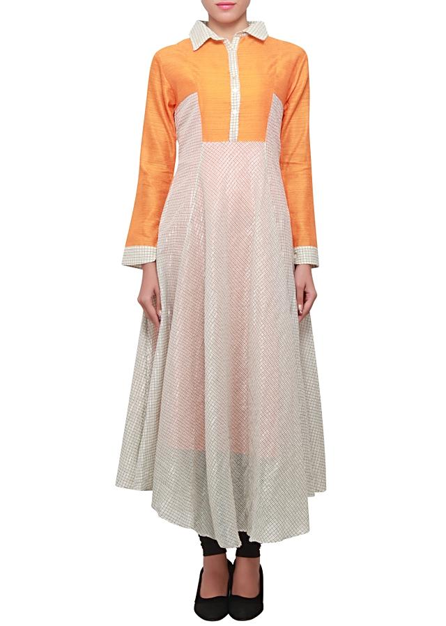 White and sunglow yellow silk kurti in anarkali style with collar only on kalki