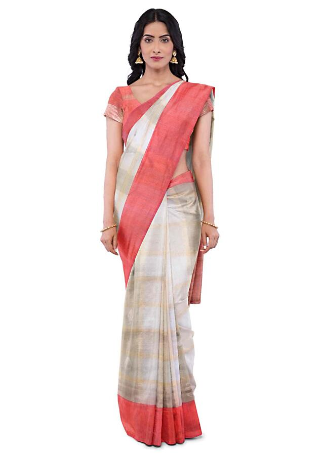 White Banarasi Saree With Weaved Buttis And Checks Pattern Online - Kalki Fashion