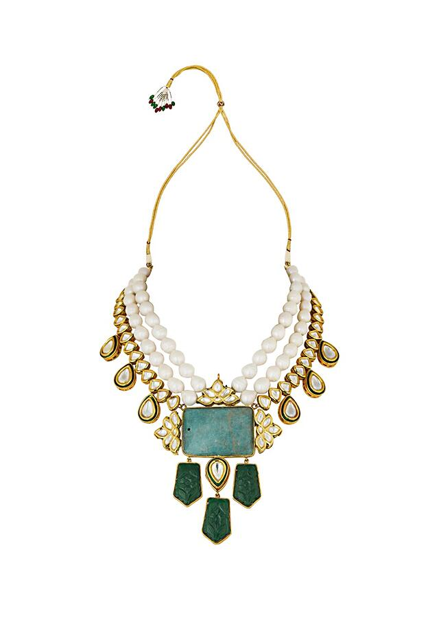 White Baroque Pearl Necklace With Hydro Kundan Polki And Carved Green Pendant Online - Joules By Radhika
