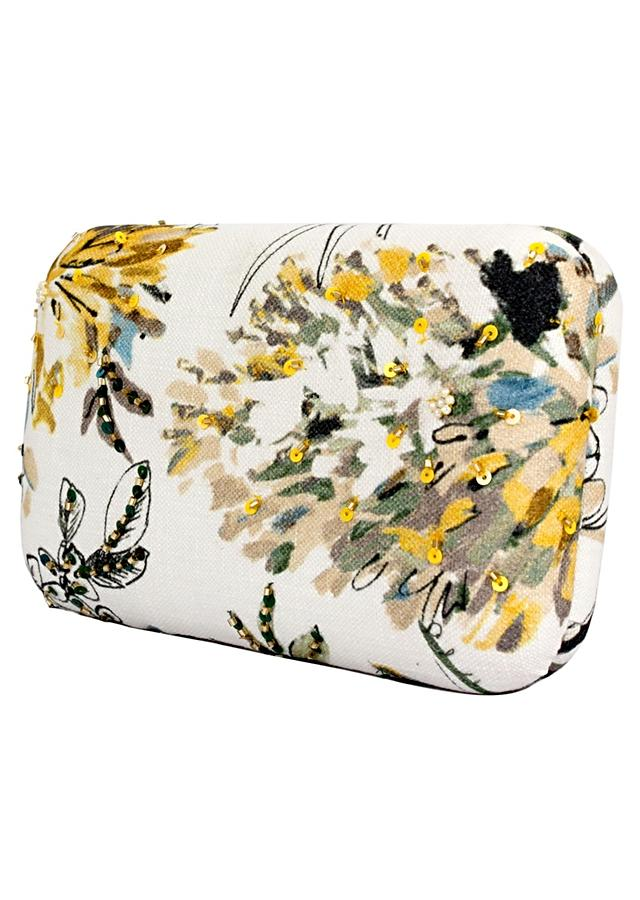 White Box Clutch With Floral Print And Sequins Work Online - Kalki Fashion