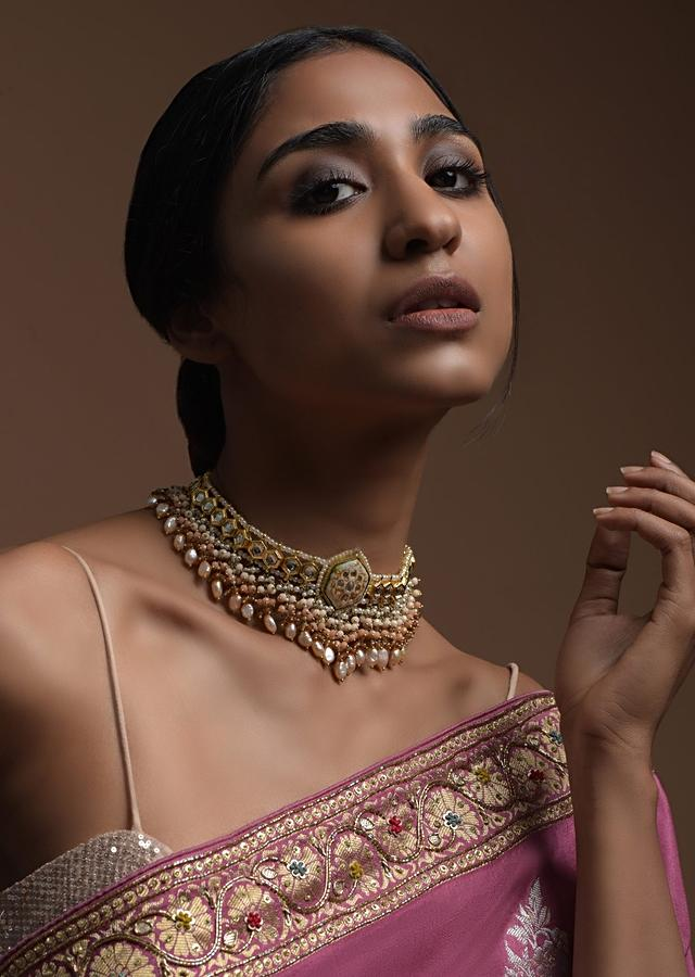 White Carved Stone Pendant Choker With Kundan Work And Dangling Multi Color Beads And Pearls Kohar By Kanika