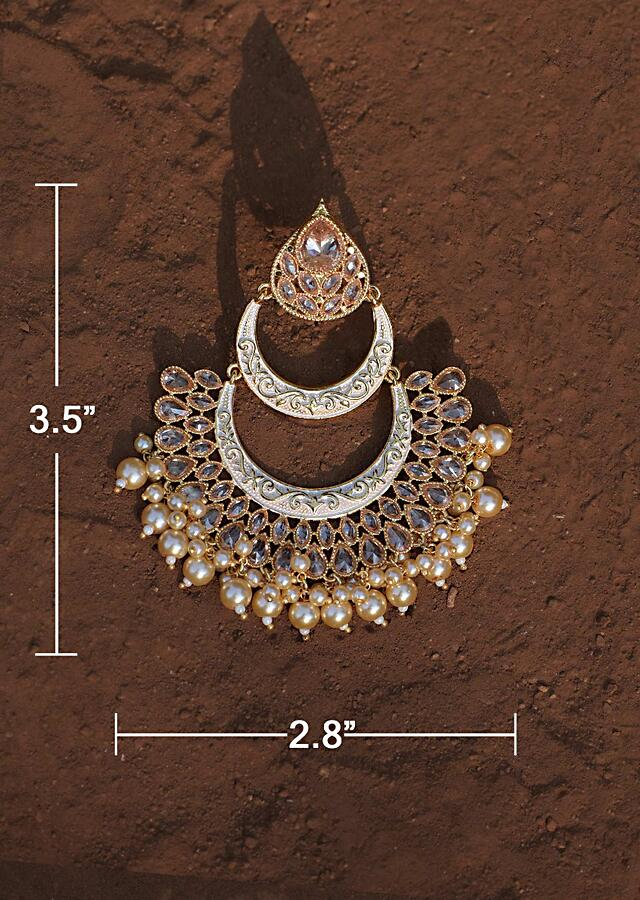 White Chandbali Earrings With Carved Pattern, Crystals And Dangling Pearls Online - Kalki Fashion