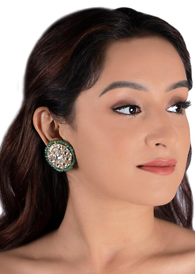 White Choker Necklace And Earrings In Floral Motif With Attached Sea Green Bead Strings By Riana Jewellery