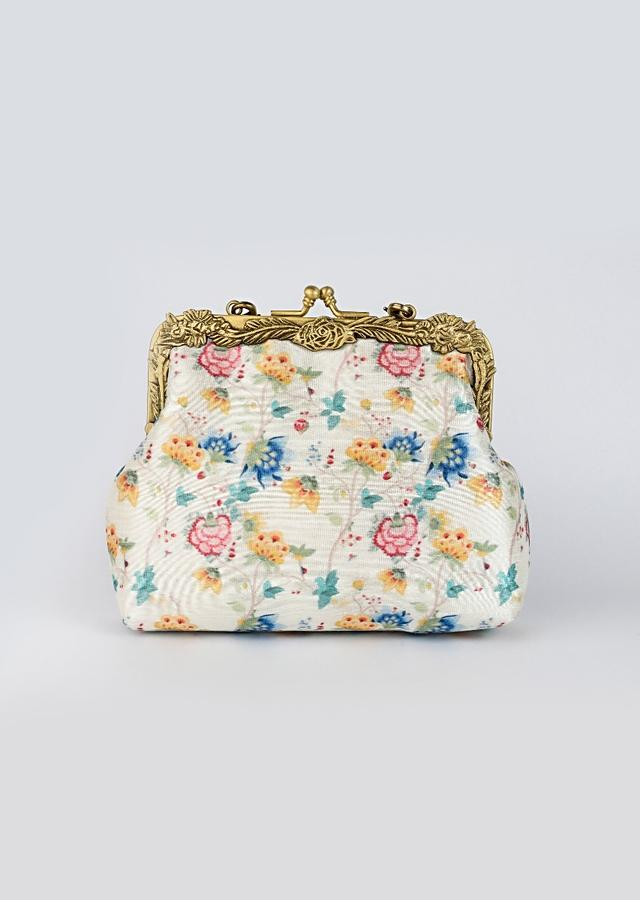 White Clutch With Multi Colored Antique Floral Print By Vareli Bafna