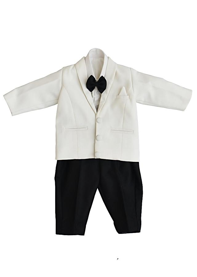 White Coat And Black Pants In Suiting Fabric By Fayon Kids