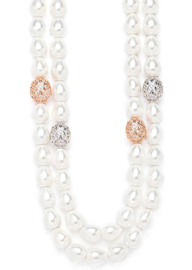 White Double Layered Necklace With White Swarovski Beads And Shell Pearls Online - Joules By Radhika