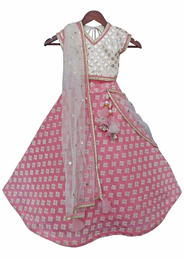 White Embroidery Choli with Peach Embroidery Lehenga by Fayon Kids