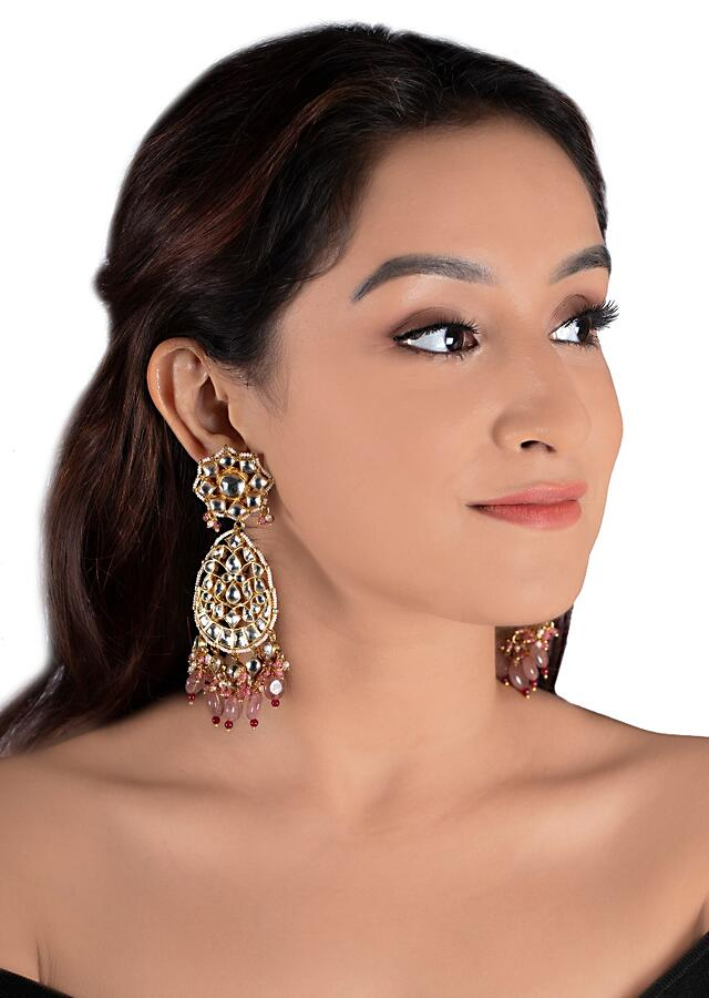White Ethnic Chandbalis With Kundan And Dangling Pink Pastel Beads By Riana Jewellery