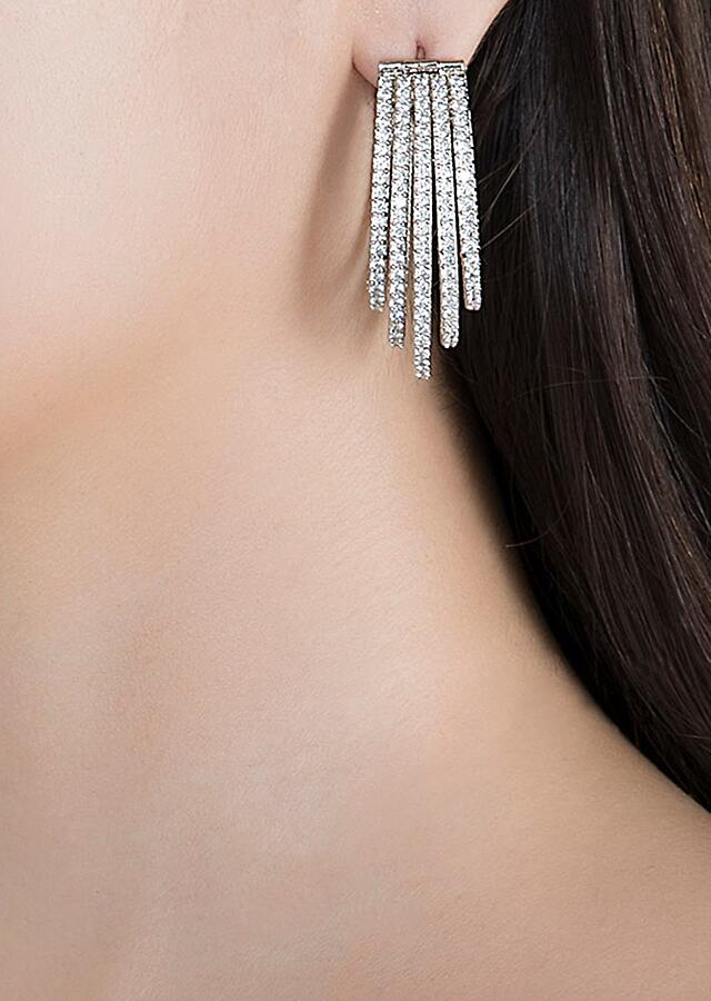 White Finish Earrings In An Edgy Design Studded With Faux Diamonds By Aster