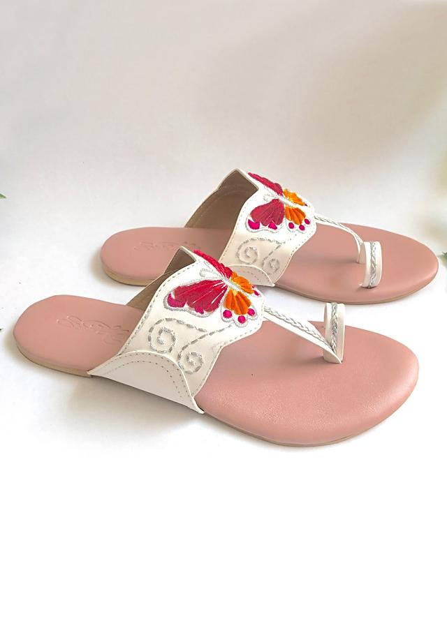 White Flats With Pink And Orange Velvet Patchwork In Butterfly Motif And Accents Of Zari Online By Sole House