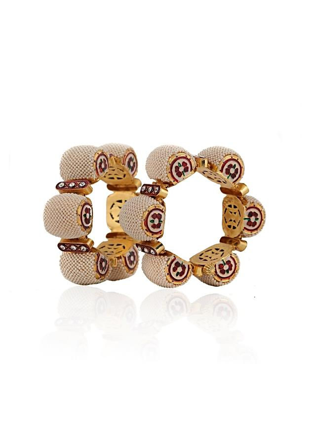 White Gajara Bangles With Flower Motifs And Moti Accents By Riana Jewellery