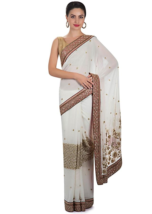 White Saree In Georgette With Pearl, Sequins And Cut Dana Work Online - Kalki Fashion