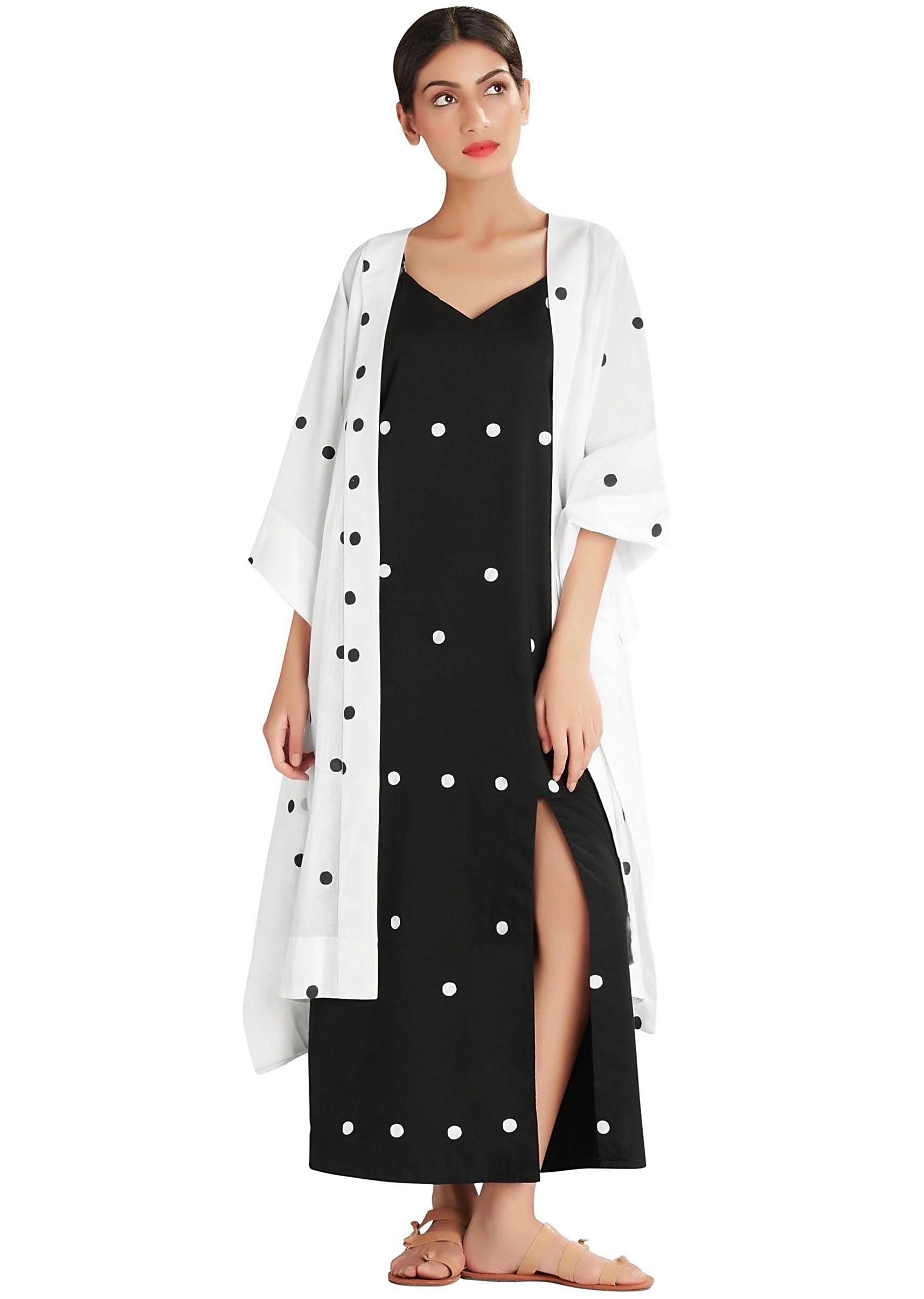 619ed1c71c White Hot dot kaftan jacket with black slip dress by MasabaMore Detail