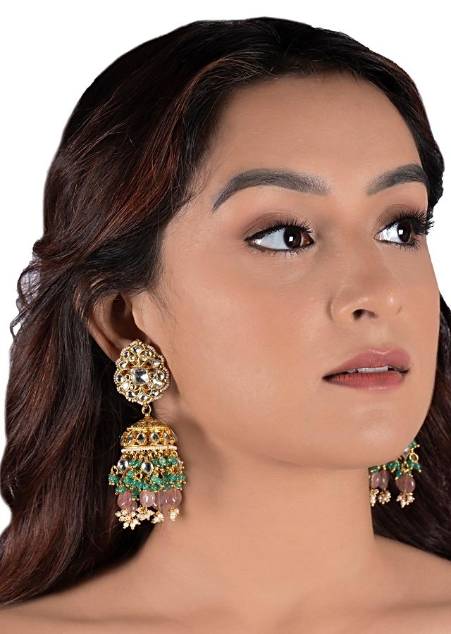White Jadtar Stone Bridal Necklace And Jhumka Set With Pastel Pink And Green Beads By Riana Jewellery