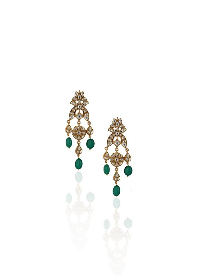 White Jadtar Stone Earrings In A Modern Design With Dangling Green Beads By Riana Jewellery