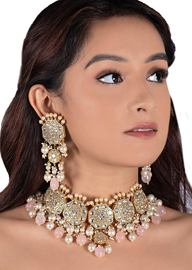 White Jadtar Stone Necklace And Earrings In Floral Motif With Pink Beads And Moti By Riana Jewellery