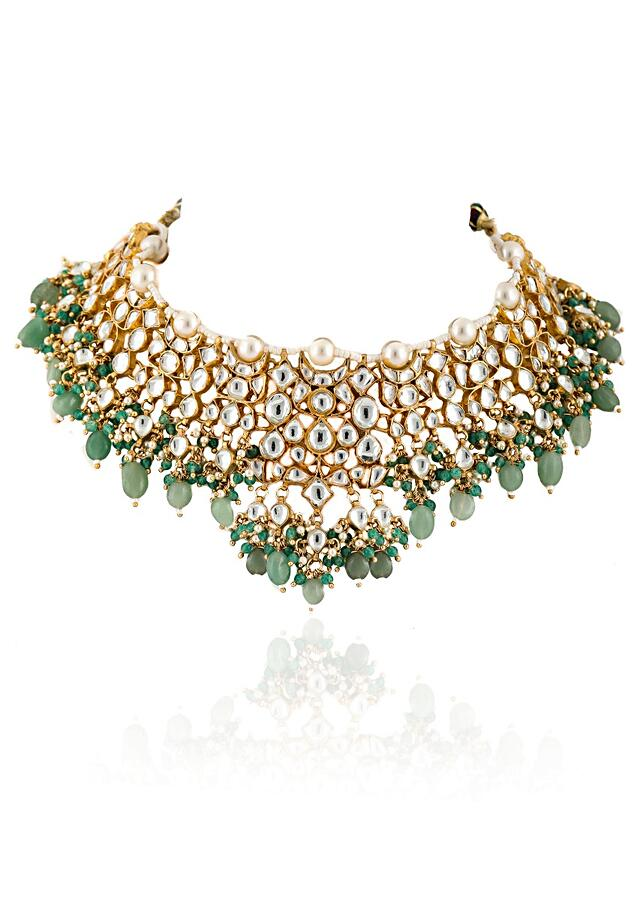 White Jadtar Stone Necklace And Jhumka Set With Moti And Sea Green Beads By Riana Jewellery