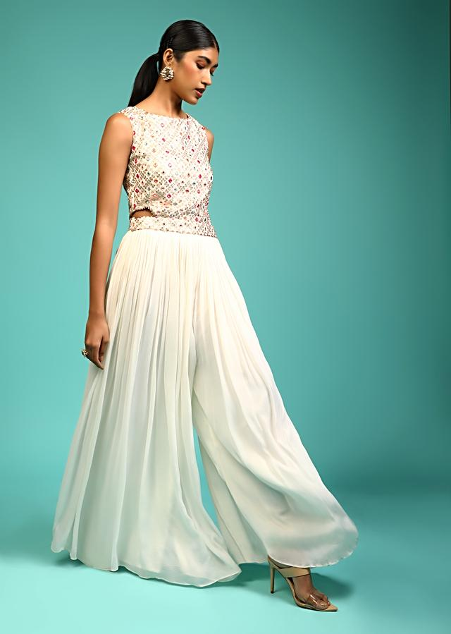 White Jumpsuit In Chiffon With Multi Colored Resham And Mirror Embroidered Bodice Along With Side Cut Outs Online - Kalki Fashion