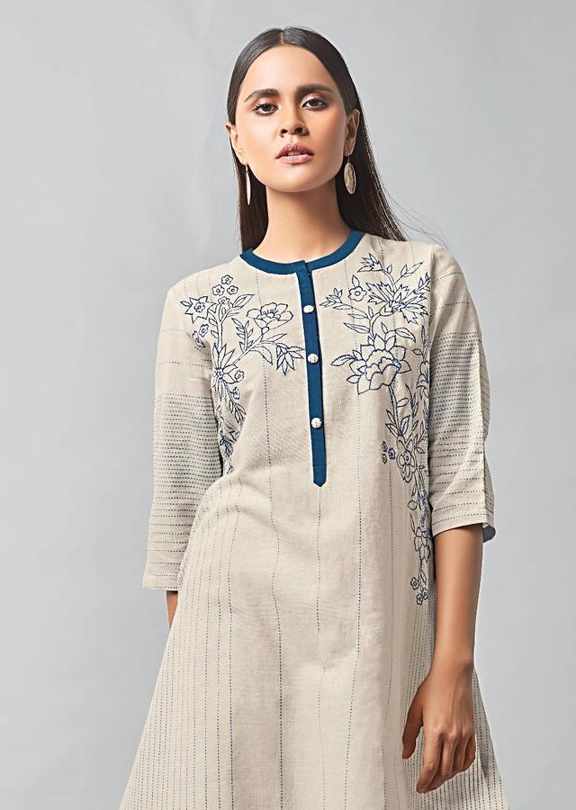White Kurta With Straight Cut Pants In Khadi Cotton Online - Kalki Fashion