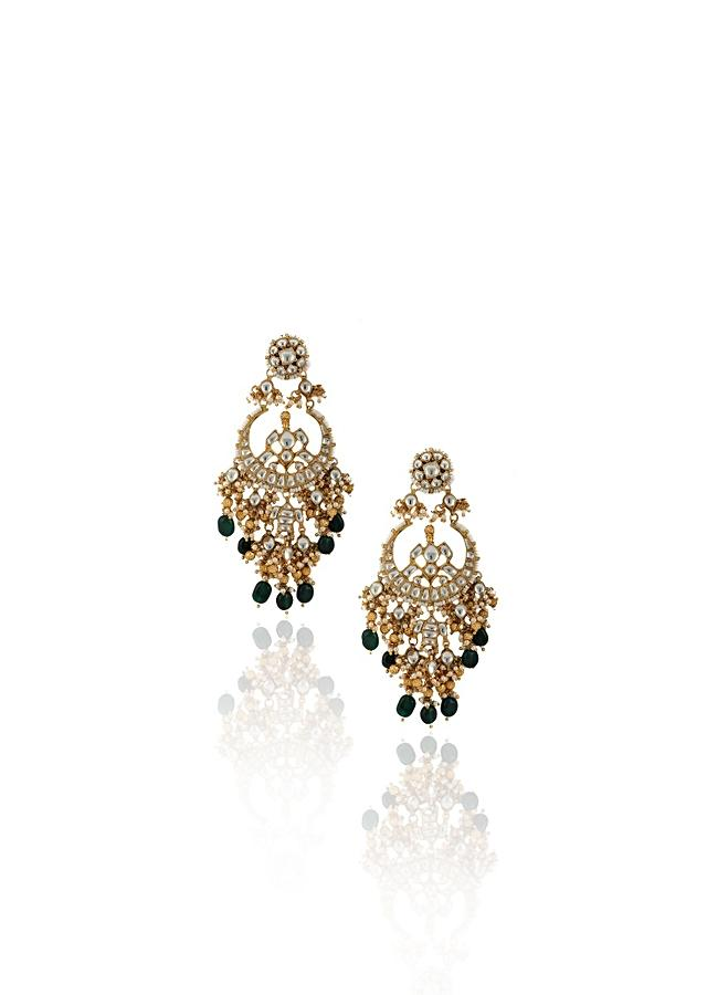 White Kundan Chandbalis With Dangling Golden And Green Beads By Riana Jewellery