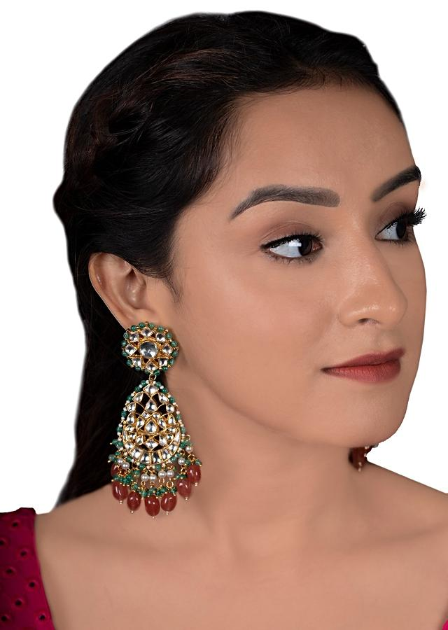 White Kundan Earrings With Dangling Pink And Green Beads By Riana Jewellery