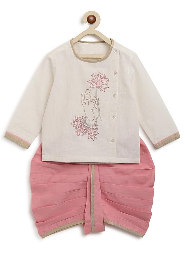 White Kurta And Pink Dhoti Set With Resham Embroidered Motif Inspired From Buddhist Art By Tiber Taber
