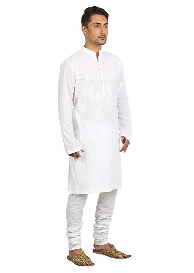 White Kurta And Pyjama Set In Cotton With Pin Tucks In Vertical And Diagonal Stripes By Mayank Modi