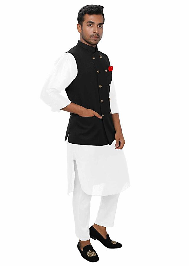 White Kurta Set Paired With A Black Double Breasted Jacket Online - Kalki Fashion