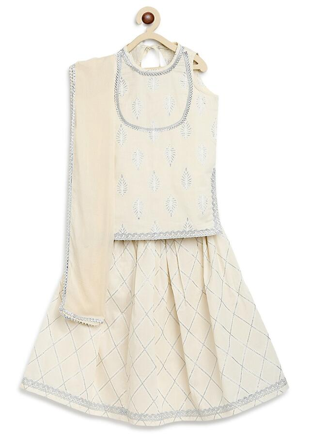 White Lehenga And Kurti Set In Cotton With Self Print And Lace Work By Tiber Taber