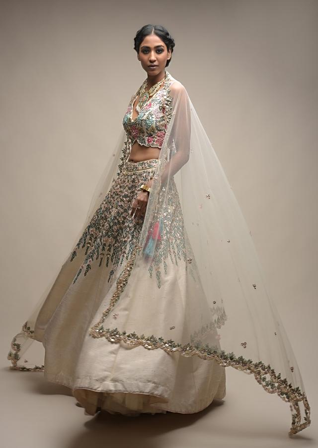 White Lehenga Choli In Raw Silk With Resham And Floral Sequins Embroidered Petals Online - Kalki Fashion