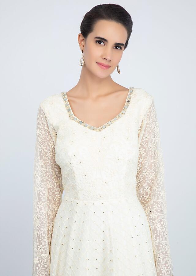 White lucknowi embroidered georgette anarkali suit with matching net dupatta only on Kalki