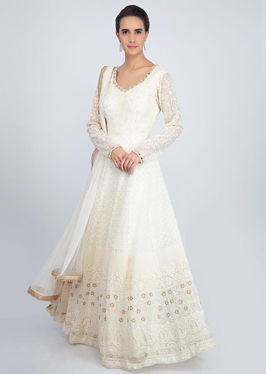 2c9f79836f White lucknowi embroidered georgette anarkali suit with matching net  dupatta only on KalkiMore Detail
