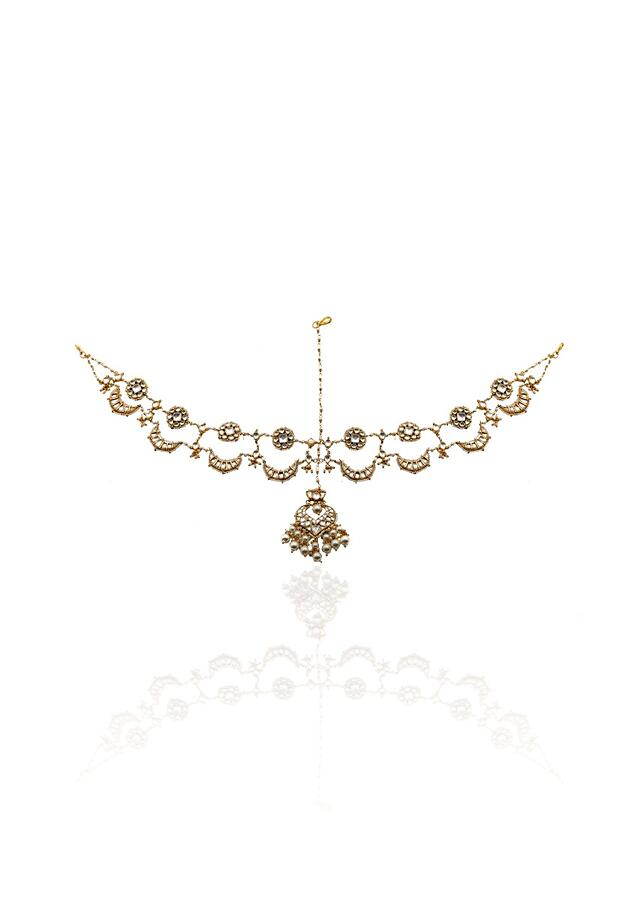 White Mathapatti Studded With Kundan And Beads In Chand Motif By Riana Jewellery