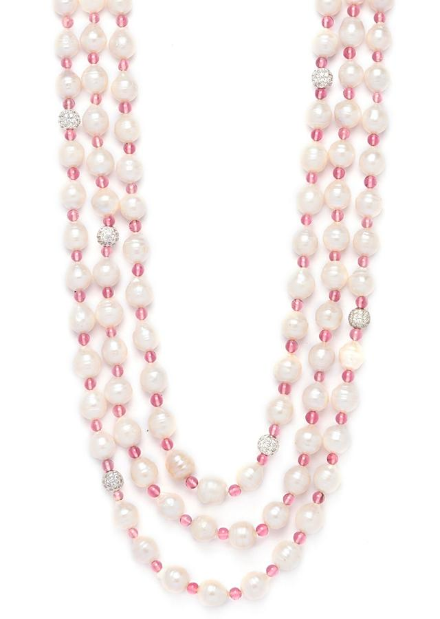 White Multi Layered Necklace With Baroque Pearls, Agate Beads And Swarovski Highlights Online - Joules By Radhika